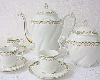 Beautiful Antique French Pillivuyt Coffee Set, Flower and Guirlande Decor, France