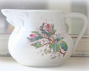 Vintage Ceramic Water Jug/Pitcher, Moss Rose Decor, France