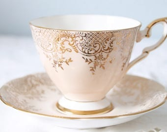 Vintage Royal Standard Salmon Pink Cup and Saucer, Gold Scrolls and Flower Decor, England