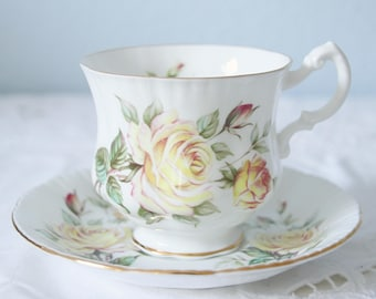 Vintage Royal Standard Cup and Saucer, Lady Size, Yellow Rose Decor, England