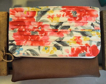 Pleated Floral Clutch
