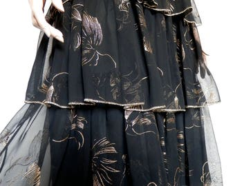 Pretty 1970's Tiered Black & Gold Gypsy Skirt -Size 8