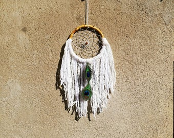 Boho Gipsy bohemian Dreamcatcher wood dreamcatcher wood cotton peacock feathers