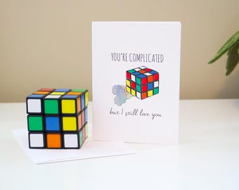 "Rubix Cube "" You're Complicated But I Still Love You"" Valentines Day Greetin Card"