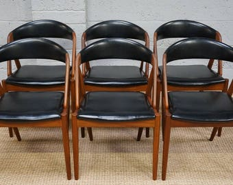 Vintage Set of 6 Danish Teak & Leatherette Kai Kristiansen Model 31A Dining Chairs