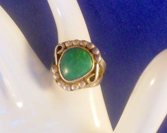 Navajo Sterling Silver Green Turquoise Ring US Ring Size 7 3/4 Vintage Native American Southwestern Jewelry Gift For Her