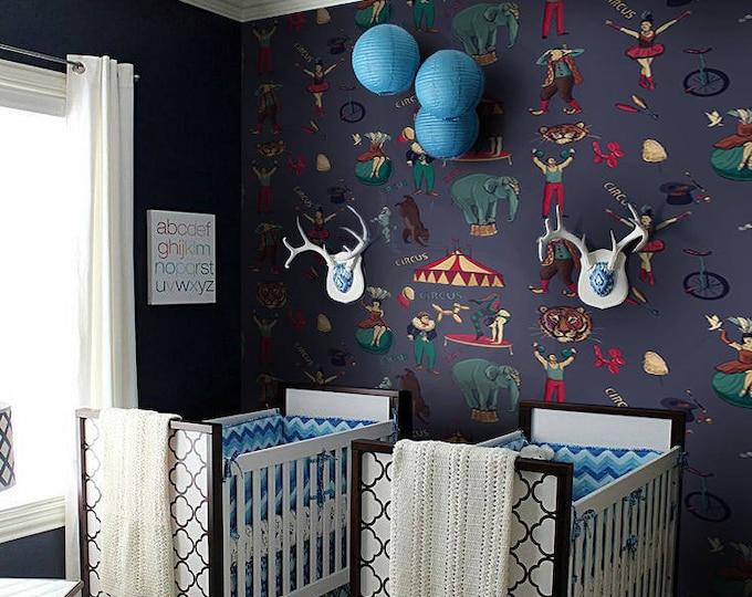 Circus Wallpaper - Children Wallpaper - Wallpaper Bedroom - Wallpaper for Kids Room