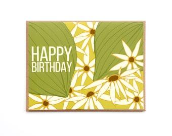 Happy Birthday Card, Daisy field birthday Card, 70's birthday card, Retro birthday, Blank card, Yellow & green floral card, Hand drawn card