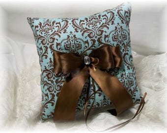 Brown Madison Damask Wedding Ring Pillow, Brown Blue Damask Ring Pillow, Brown Pink Damask Wedding Ring Pillow