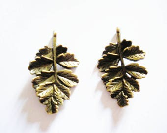 2 charms connector leaves bronze 32mm x 19mm