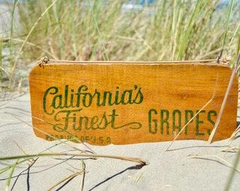 Vintage Wooden California Grapes Sign, Vintage Farmhouse Kitchen Decor, Farmhouse Style, Rustic Kitchen