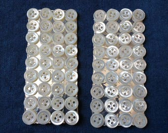 Vintage French Mother of Pearl buttons on card - 36 buttons per card