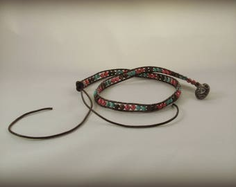 Coral Turquoise Brown Stone Leather Wrap Bracelet