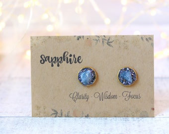 Sapphire Jewelry for Her, September Birthstone, Sapphire Earrings, Sapphire Earrings Studs, Raw Sapphire Earrings, Gold Stud Earrings