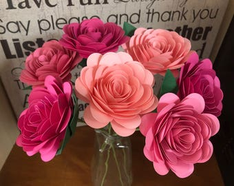 Paper flower bouquet, pink ombre flowers with stems, Valentine's Day bouquet, teacher gift
