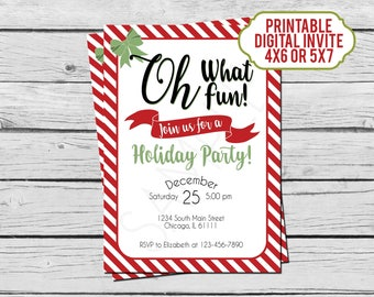 Oh What Fun! Stripes Christmas Party Invitation - Holiday Party Invitation - Digital File