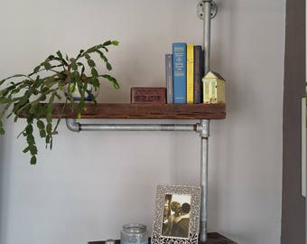 Horizontal Three Tiered Pipe Shelf, Industrial Galvanized Pipe Bookcase, Reclaimed Wood Pipe Shelf