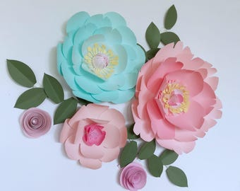 Turquoise Paper flower coral wall decor mint baby girl nursery room decor mint party decor pink first birthday decor girl coral paper flower