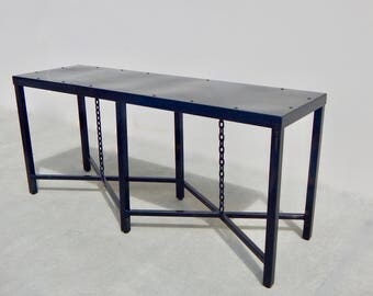 Vintage Industrial Console Table, Steampunk Furniture, Restoration Hardware Style  Table, Industrial End Table