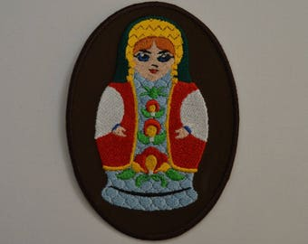 Russian doll embroidered badge