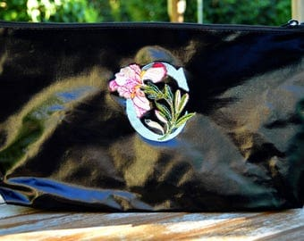 Black pouch with personalized letter