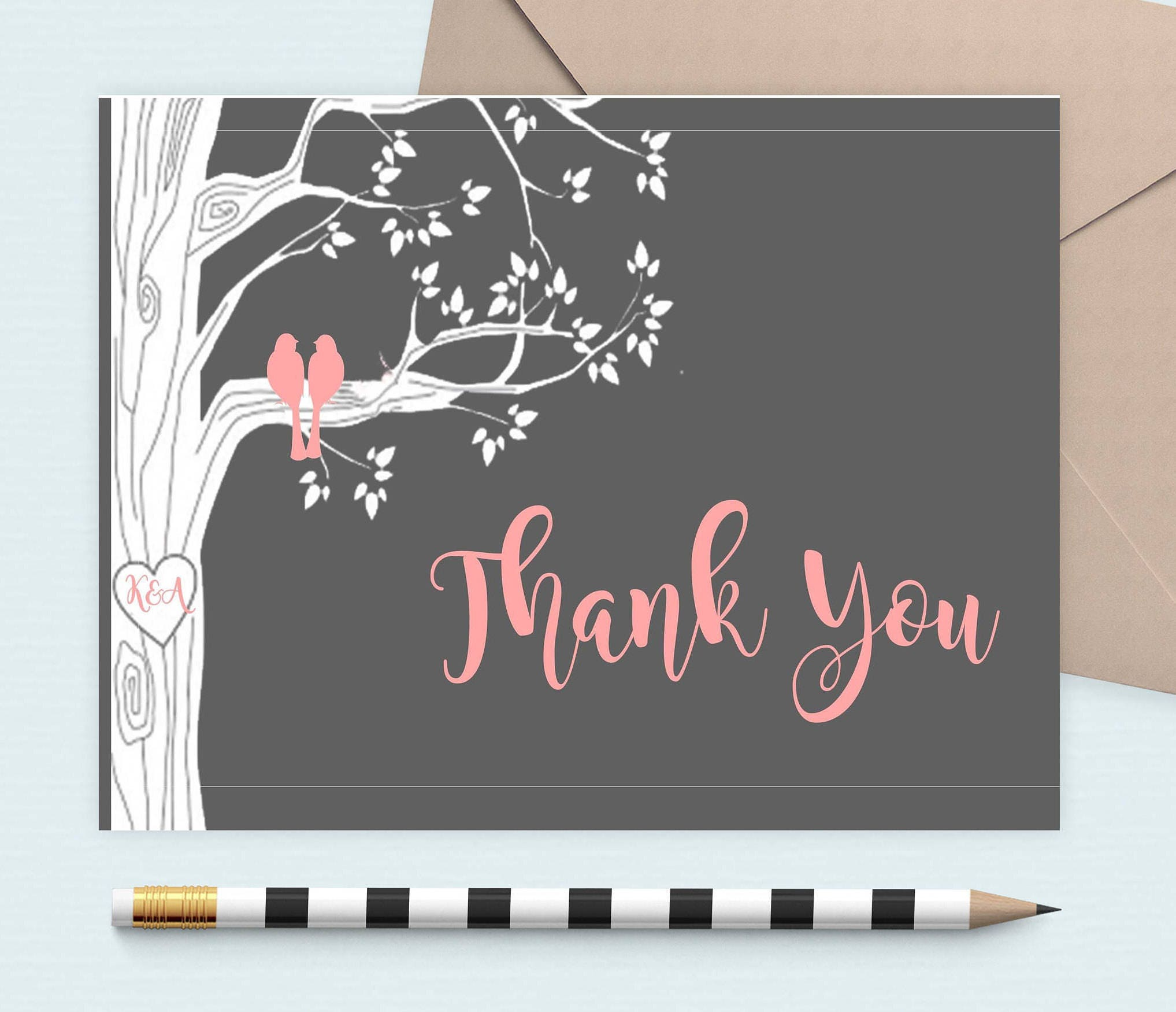 personalized love bird thank you cards thank you note cards thank you folded note - Personalized Folded Note Cards