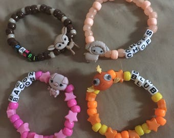 Set of four animal kandi bracelets