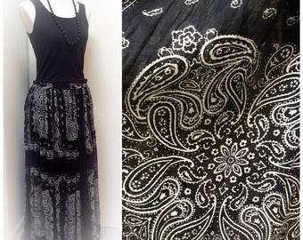 Vintage Gypsy Black Bandana Skirt Black And White Broomstick Hippie Witchy 90s Maxi Cotton One Size