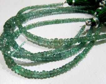 Best Quality Natural Emerald Rondelle Faceted Beads , Precious Zambian Emerald Beads , 3 to 4mm Graduated Emerald Beads , Strand 8 inch long