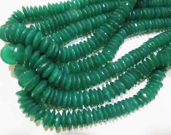 AAA Quality Natural Green Onyx Quartz German Cut, Rondelle Faceted Beads , 10 to 13mm Graduated Disc Shape Beads , Strand 8 Inches Long