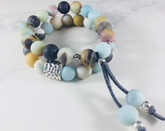 "Set of 2 ""Missy"" amazonite beaded bracelets // Fast and free shipping"