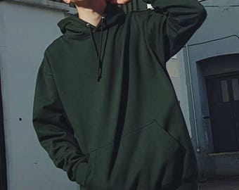 Oversized Ringspun Cotton Hoodie Forest Green