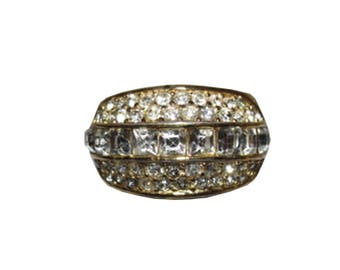Christian Dior 18 kt Gold Plated Rhinestone Pave Ring
