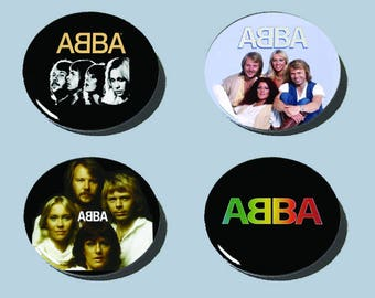 "ABBA Buttons!!! 70s 80s Pop!! set of 4!! 1-1/2""!!"