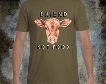 Friend Not Food-Cow - Men's Crew Neck T-Shirt