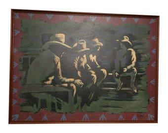 Vintage LEE REYNOLDS PAINTING Cowboys oil canvas framed wall art mid century impressionist surrealist 80s mod abstract western