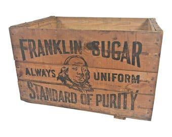 Vintage Primitive Wood Box ADVERTISING wooden shipping Ben FRANKLIN SUGAR crate beverage bottle Philadelphia Pa toy storage loft decor