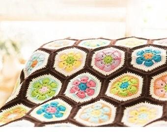 Throw blanket , crochet blanket , handmade blanket,crochet Afghan - African  flower , colorful flower in spring