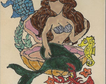 Mermaid and Friends Hand Painted Kiln Fired Decorative Ceramic Wall Art Tile 8 x 8