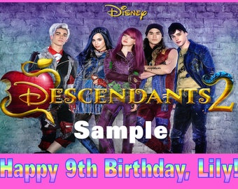 Personalized Birthday Party Edible Image Icing Frosting Cake Topper - 1/4 Sheet Sized - Disney Descendants Movie 2 Mal Evie Jay Carlos Ben
