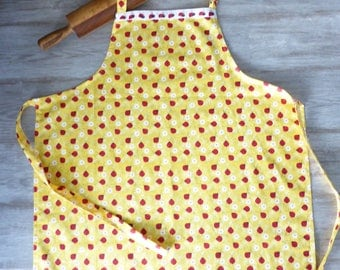 New! Lady Bug Print Womans Adult Size Apron, Handmade Apron, Hostess Gift, Gifts under 20, Vintage Retro Custom Apron, Mens or Womens Apron
