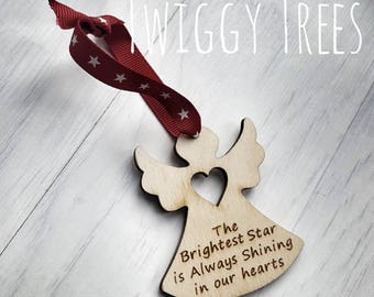 Angel Memory decoration The brightest star is always shining rememberance guardian wooden santa personalised engraved  Christmas  xmas tree