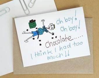 Oh Boy Chocolate, Fathers Day, Birthday Card, Boys Card, Blank Greeting Card, Fun Card, Mans Card, Love Chocolate, Handmade Card