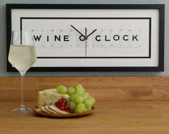 Wine O Clock Frame Clock by Vintage Playing Cards FREE UK SHIPPING!