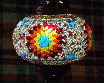 HANDMADE Turkish mosaic table lamp small/SUN- staind glass Living Roon, Bed room  All season Gift
