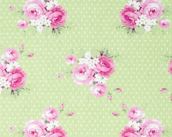 Tanya Whelan Slipper Roses Dottie Rose in green -  cotton quilting fabric by the yard
