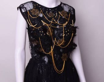 Dress Fraise Loup Design - prom - Gala - evening Ride wedding - jewelry Black and Gold Princess