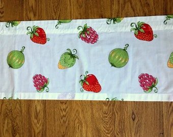 Sweet Scandinavian vintage curtain coat / valance printed on white bottom with fruit and berries in red and green from Sweden