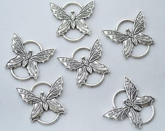 Bulk 20 Pcs Butterfly Connector Charms Antique Silver Tone 27x25mm - YD0317