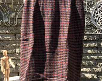Vintage 1980's Wool Plaid Skirt * Size Small  * Cinnamon Caramel